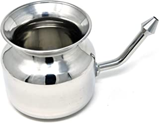 WC_304 Grade Stainless Steel Ayurvedic Jal Neti Pot for Sinus Congestion and Nasal Cleansing Non-Corrosive Unbreakable Hygienic Smooth Nose Tip Snugly Fits Any Nostril