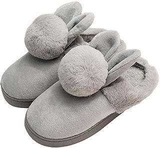 HRFEER Women Memory Foam Slipper Rabbit Ear Double Fur Ball Indoor Cotton Slippers for Girls