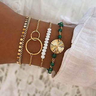 Handcess Boho paillettes nappa bracciali oro doppio cerchio braccialetto monete perline mano catena punk accessori per don...