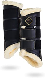Dressage Horses Boots: Fleece-Lined Faux Leather Woof Brushing Boots for Training, Jumping, Riding, Eventing - Quick Wear for Breathable, Lightweight & Impact-Absorbing Wrap
