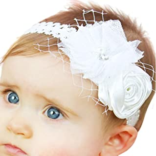 Baby Girl Baptism Headbands with Bows Christening Headdress