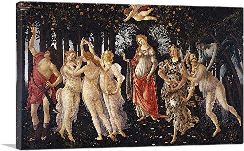 "ARTCANVAS La Primavera Allegory of Spring 1482 Canvas Art Print by Sandro Botticelli - 40"" x 26"" (0.75"" Deep)"