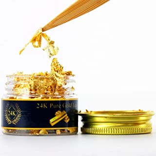 KINNO Edible Genuine Gold Leaf Flakes, 25mg 24K Gold Flakes Facial Mask Decorative Dishes,Genuine Gold Leaf for Cooking, Cakes & Chocolates, Decoration, Health & Spa