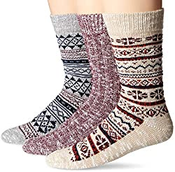 powerful Amazon Brand – Men's 3 Pairs of Good Thread Boots, Oatmeal Fair Isle, One Size