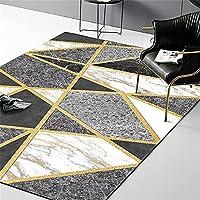LBMTFFFFFF カーペットラグラグラグカーペット、モダンな黒と白の灰色の大理石のゴールデンラインクロスカーペット、寝室、ベッドサイド、リビングルーム、装飾カーペットマット,K,160 X 230Cm