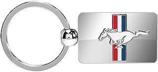 Ford Mustang Tri-bar Logo Chrome Metal Key Chain