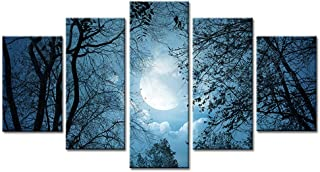 Kingshalor Diamond Painting Kits for Adults, Full Drill DIY 5D Diamond Painting Embroidery Cross Stitch Arts Craft Picture Kit, Paint with Diamond Wall Décor Tree Moon 31.5X15.7in