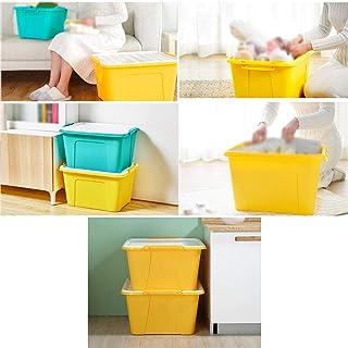 MU Bois Massif de boîte de Rangement portative de ménage, Paquet de 3 épaississements en Plastique de ménage de vêtements,...