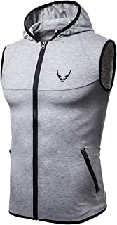 Mogogo Mens Vests Athletic Cotton Leisure Sleeveless Sweatshirt Hoodies