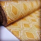 LushFabric Tessuto Art Deco Damasco a Rombi con Motivo a Rombi Materiale di Cotone Floreale per Tende Tappezzeria per la casa - ocra, Senape, Crema (Campione 10cm x10cm)
