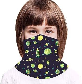 Kids Tube Face Mask Bandanas, Space Rockets UV Protection Neck Gaiters Headband for Boys Girls Outdoors