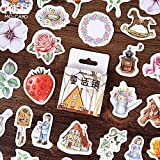 Retro Washi Sticker Bullet Joournal Stickers Cute Flower Plant Pattern Stickers Scrapbooking Stationery Stickers 46pcs / Set