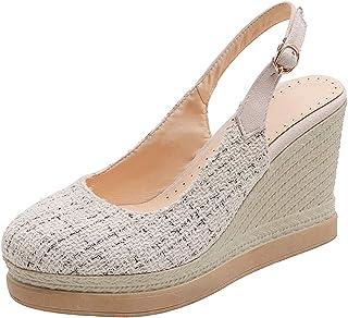 Espadrille voor dames, damesplateau sleehak sandaal, enkelband gesloten teen slingback zomersandaal hakken 8cm,Beige,33