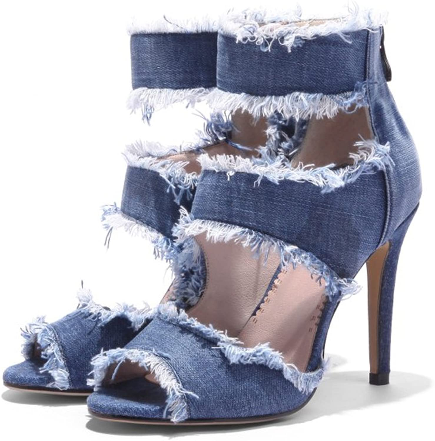 Themost Womens Back Zip Hollow Out Peep Toe bluee Denim High Heel Sandal shoes