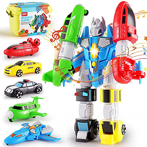 QUERCITRON 5-in-1 Magnetic Vehicles Playset Toy, Transform into Robot, Mix and Match Assembling Building Action Figures Kit with Storage Box, Birthday Gift for Kids, Boys and Girls 3 4 5 6 7 Year Old