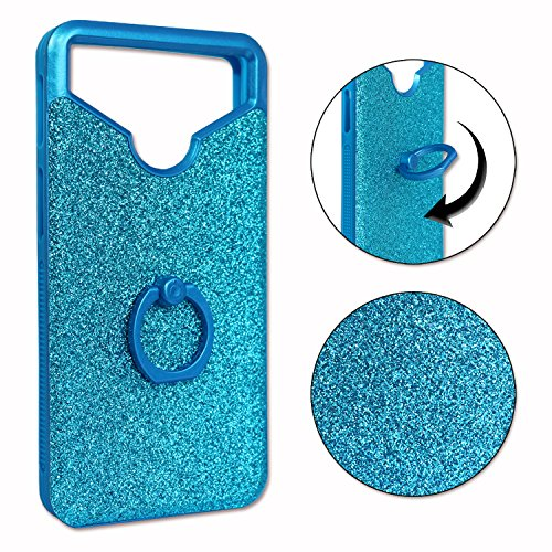 PH26 Lenovo A7700 Crystal Diamond Effect Back Cover Silicone Gel Bumper with Ring for Selfies, Photos and Video Stand by