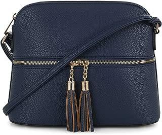 SG SUGU Lightweight Medium Dome Crossbody Bag with Tassel | Zipper Pocket | Adjustable Strap