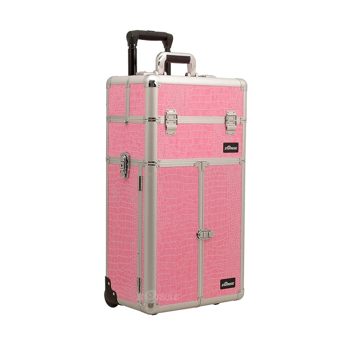 Craft Accents I3265 Croc Trolley Craft/Quilting Storage Case, Pink