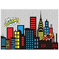 Allenjoy 8x6フィート スーパーヒーローテーマの背景 スーパーシティスカイラインビルディング 子供 誕生日 写真パーティー イベント バナー 写真スタジオブース背景 ベビーシャワー 写真撮影用布素材