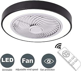 BHA Ventilador de techo con luz led y mando a distancia moderna lampara de techo colgante silencioso dormitorio salon infantil cocina interior iluminacion decorativa Negro