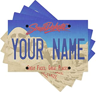 Bleu Reign BRGiftShop Personalized Custom Name South Dakota State License Plate Set of 4 Linen Table Placemats