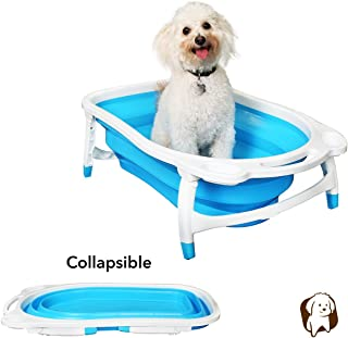BaileyBear Porta Tubby Collapsible Portable Foldable Dog Cat Bath Tub, Expandable Grooming Washing Accessory for Small Medium Pets, 31.5 Inches x 17.3 Inches x 8.7 Inches