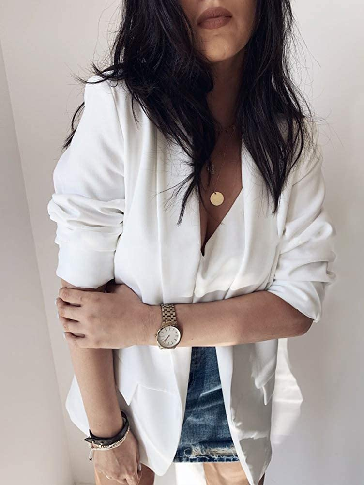 Shallood Damen Elegant Langarm Blazer Sakko Einfarbig Slim Fit Revers Geschäft Büro Jacke Kurz Mantel Anzüge Bolero Mit Knopfleiste Military Coat Blazer B Weiß