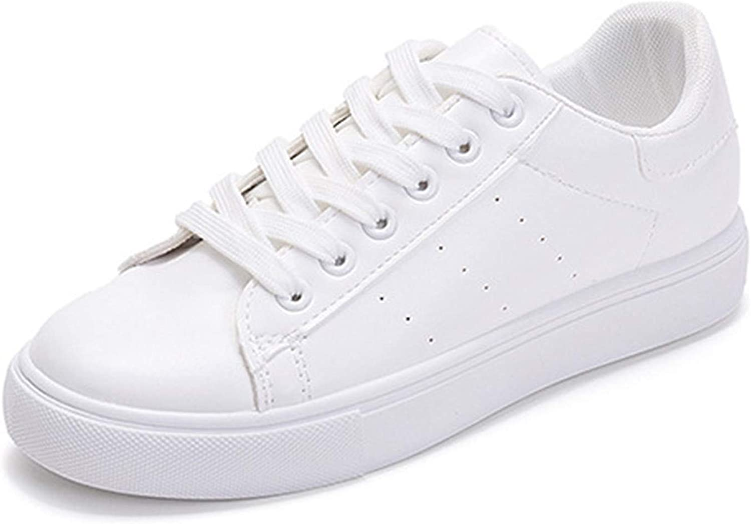 Women White shoes Flat Casual Vulcanized shoes Lace-Up Autumn Sneakers Platform