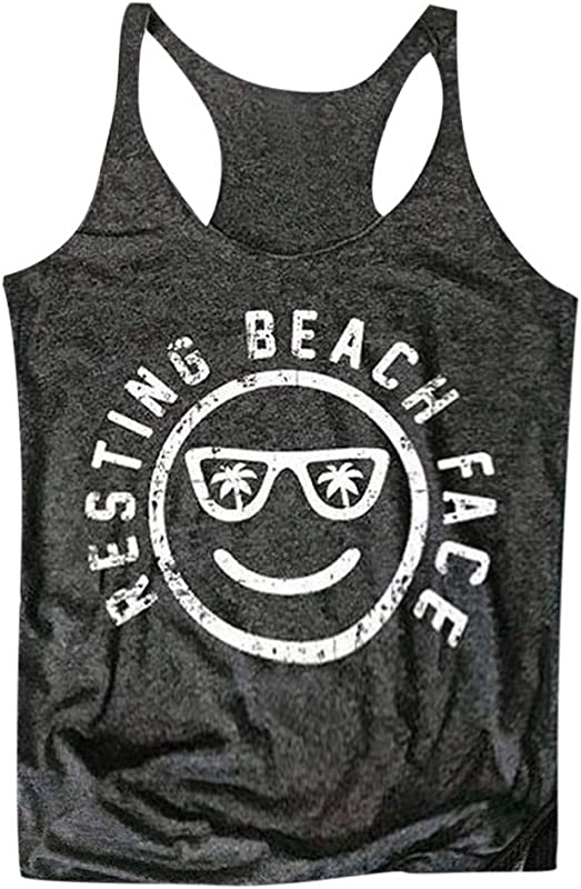 TANLANG Womens Tide Summer Round Neck Sleeveless Tank Smiley Text Print Clean Comfortable Soft Blouse Top