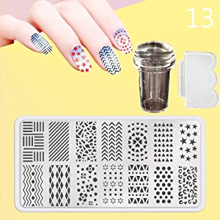 Zmond - New 12X6cm 44 Style Nail Stamping Plates Set Made Stencils Lace Flower DIY Nail Art Templates+Transparent Stamper Stamp Scraper [ 13 ]
