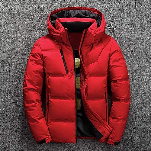 Lhlxs Duck Down Jacket Men Short warme Starke Qualität Zipper mit Kapuze Daunenjacke Männer Overcoat Jacken Winter Herren Daunenjacke,Rot,XXL