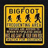 Dozili Bigfoot frecuentando área de 12 pulgadas por 12 pulgadas señal de metal de pie grande Sasquatch madera Ape Find Bigfoot