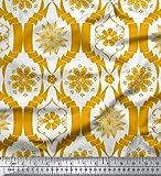 Soimoi Gold Samt Stoff Blumen- Damast Drucken Nahen Stoff 1