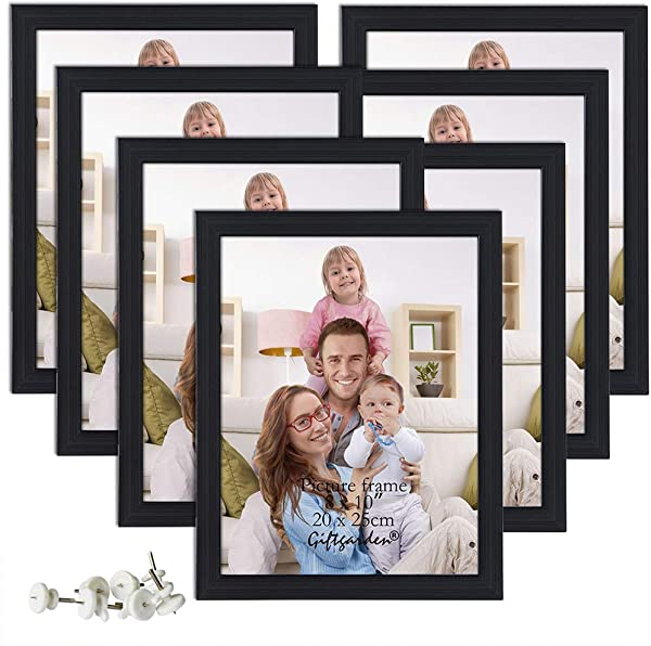 Giftgarden 8x10 Picture Frame Multi Photo Frames Set Wall Or Tabletop Display 7 PCS Black