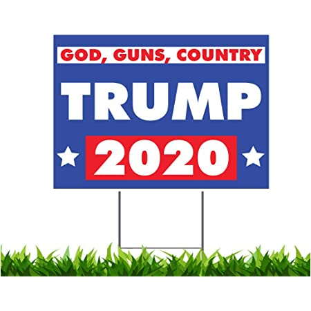 """Farmers for Donald Trump 2020 Yard Sign Double Side 24x18/"""" With Metal H Stakes"""