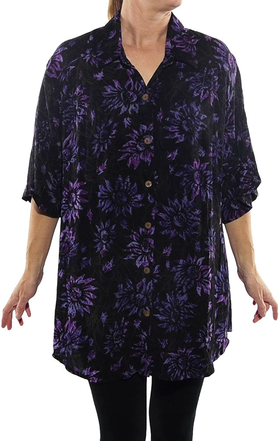 WeBeBop Womens Plus Size Flower Candy New Tunic Top