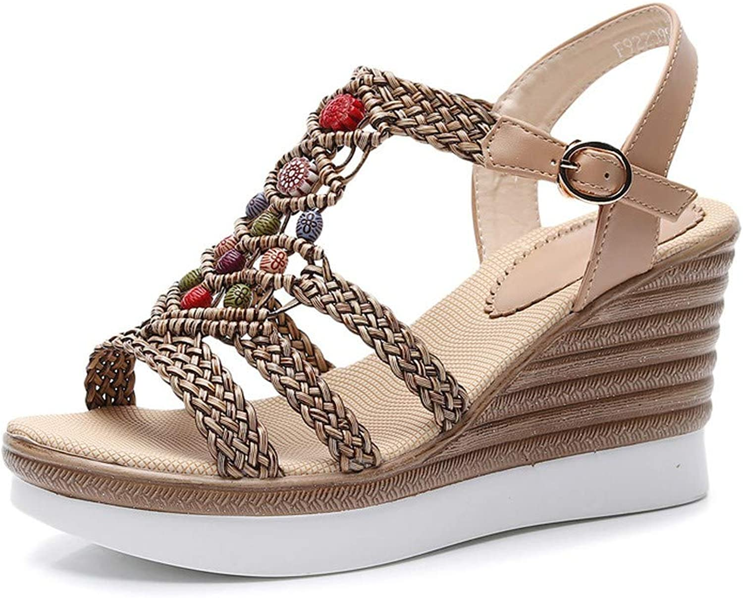 DBQWTY Ladies'Summer Slope-Heeled Flax Sandals Comfortable Walking Fashion Sandals