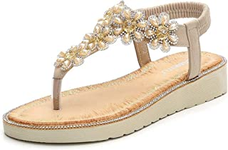 Women's Bohemian Sparkle Bling Flip Flops Summer Beach Thong Platform Comfort Elastic Flat Sandals Women's sandals