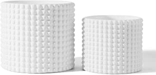White Ceramic Vintage Style Hobnail Patterned Planter Pots - 6 and 5 Inch Containers with Watering Drain Plug for Indoor S...