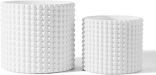 White Ceramic Vintage Style Hobnail Patterned