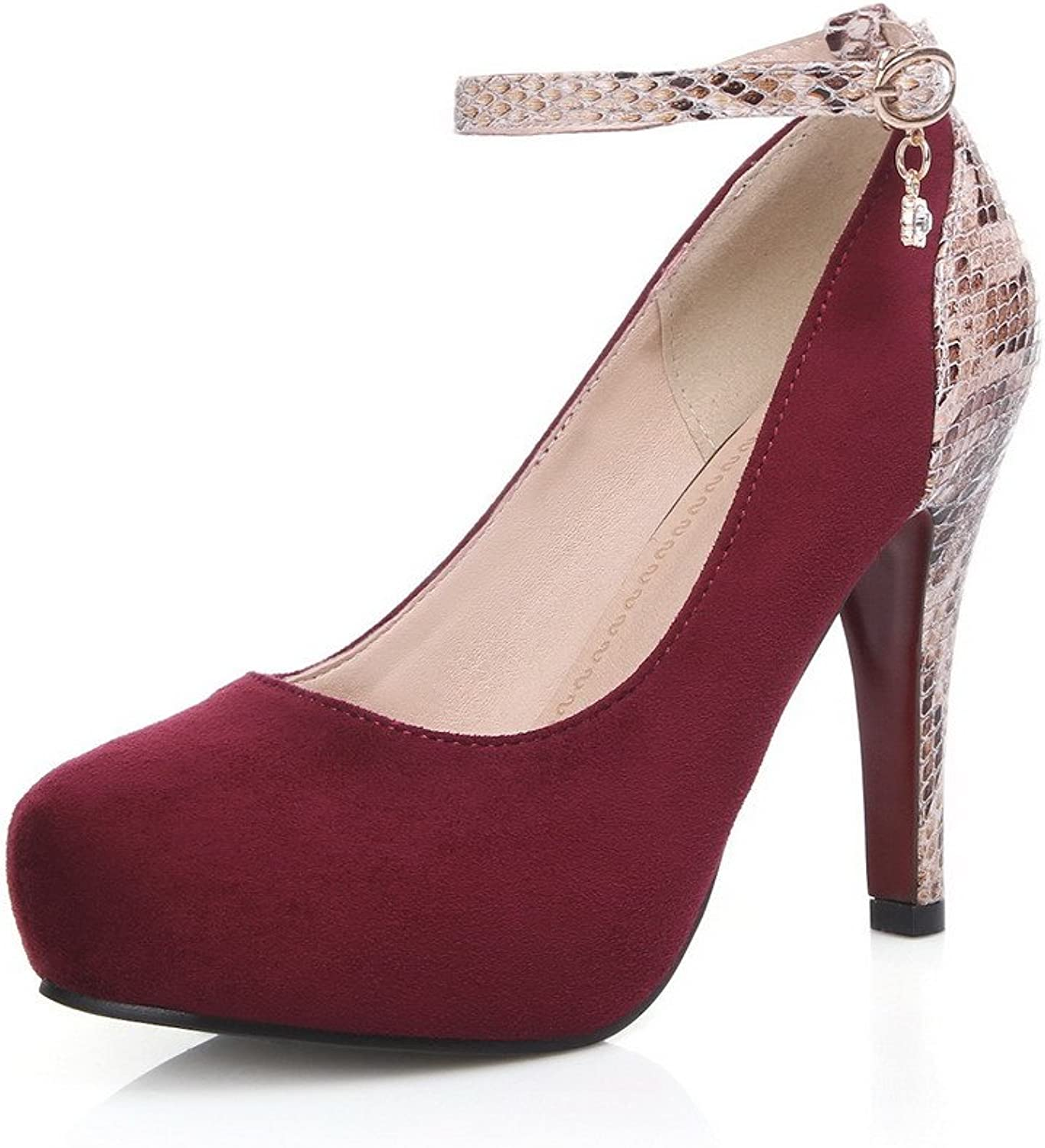 WeenFashion Women's Buckle Round Closed Toe Spikes Stilettos Assorted color Pumps-shoes