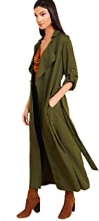 Verdusa Women's Open Front Buttoned Roll Up Sleeve Belted Long Coat