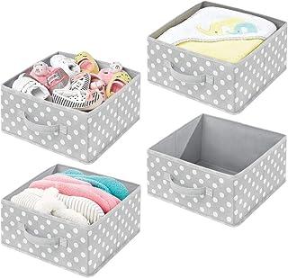 mDesign boîte de Rangement en Tissu (Lot de 4) – Panier de Rangement pour Organiser Le Dressing – boîte en Tissu avec poig...