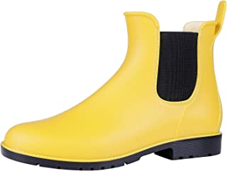 yellow ankle rain boots