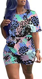 Women Casual 2 Piece Outfit Colorful Animal Print Short Sleeve T-Shirts Bodycon Shorts Set Jumpsuit Rompers