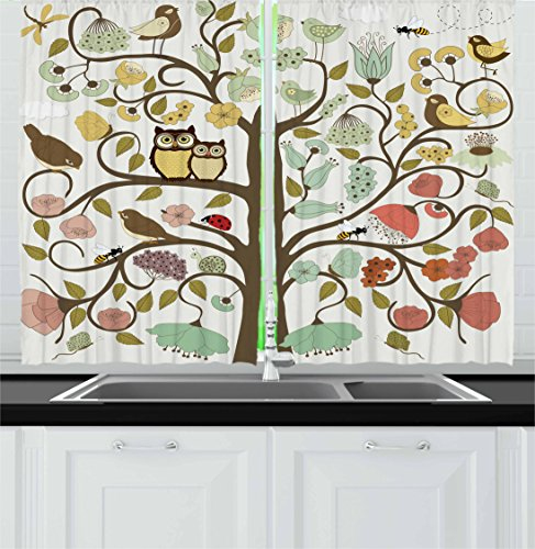 """Lunarable Animals Kitchen Curtains, Retro Style Tree Flowers Bugs and Bees Owl Birds Insects Vintage, Window Drapes 2 Panel Set for Kitchen Cafe Decor, 55"""" X 39"""", Green Eggshell"""