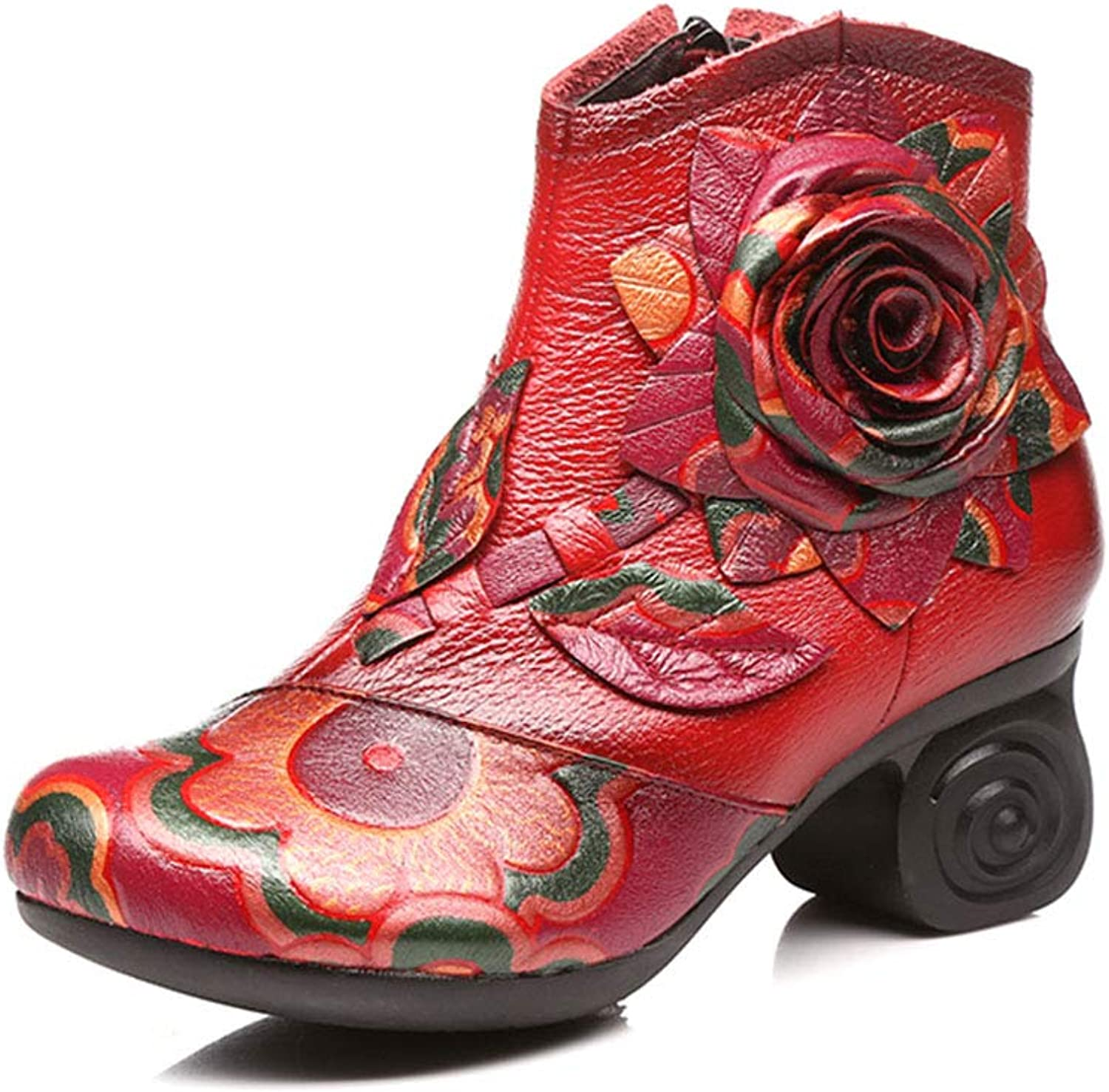 Women's Booties Leather Chunky Heel high Heel Round Ankle Boots Side Zipper Handmade Flowers Fashion Martin Boots Ethnic Style