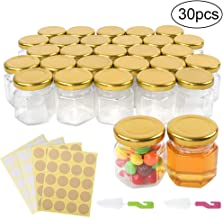 Superlele 30pcs 1.5oz Mini Hexagon Glass Jar Honey Bottle with 4pcs Sticker Sheets, 2pcs Pacifier Brush for Party, Honey, Spice and Kitchen Supplies Storage