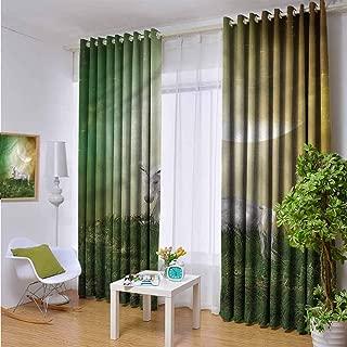 hengshu Fantasy Room Darkened Insulation Grommet Curtain Misty Night Meadow Unicorn Living Room W84 x L72 Inch