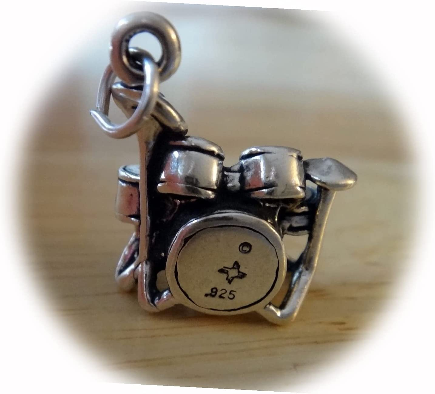 New 18x13mm 3D 6 pc 4.5gram Sterling 5 ☆ very popular Silv Drum Set Music San Antonio Mall Cymbals